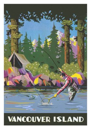vintage travel poster - Canada - Vancouver - Fishing