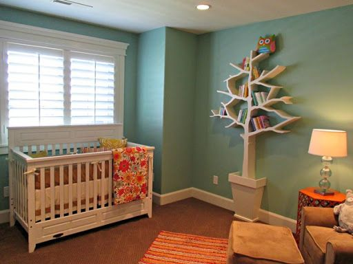 Hazel by Sherwin Williams - How 14 Popular Paint Colors Look In Actual Rooms (sometimes I need that push to be bold with colors - also, love the tree bookshelf!!)