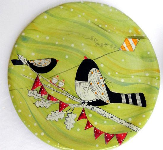 Green Bird Plate by joyelizabethceramics on Etsy