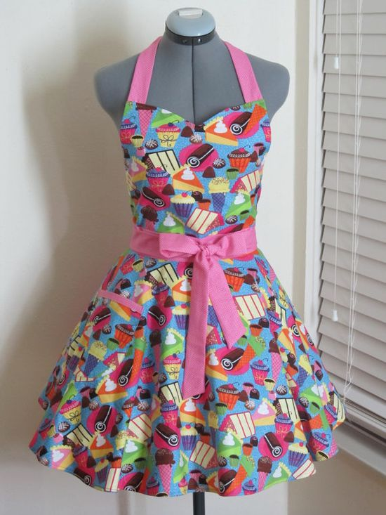 Yummy Cakes and Pies Sweetheart Apron  With a by AquamarCouture, $37.00