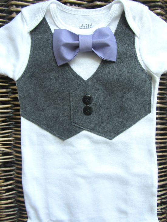 Baby Boy Clothes  Baby Bow Tie With Vest Onesie  by SewLovedBaby, $20.99