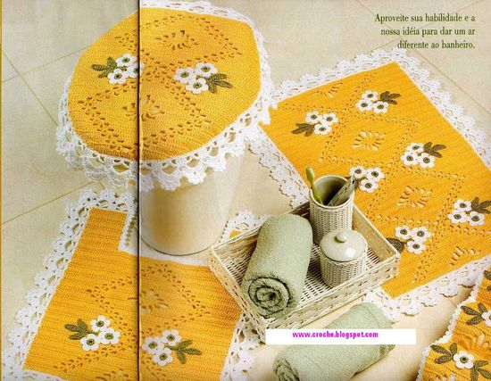 Yellow and white bathroom decor ?LCB? with diagrams