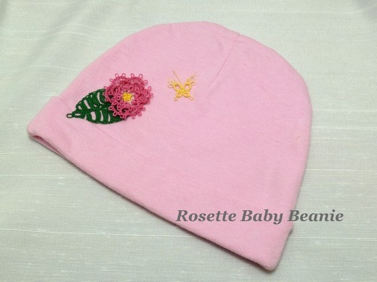 Newborn Hat with Tatted Lace Flower Leaf and by SnappyTatter, $20.00