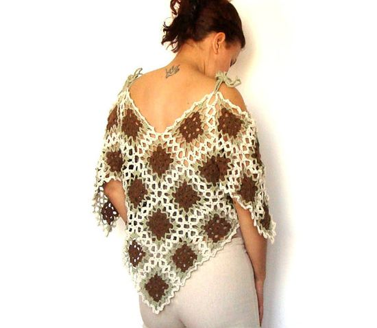 Lace crochet  poncho capelet tunic  -  pale brown beige green - spring summer - naked shoulders. $115.00, via Etsy.