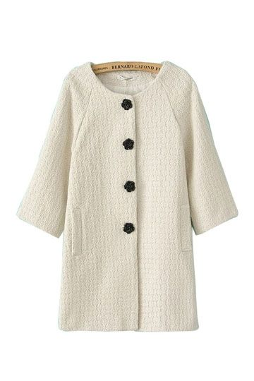 Pure Color Rose Buttons Three Quarters Sleeve Coat