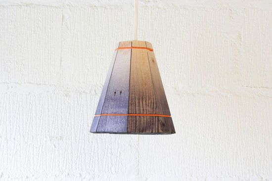 Black Pendant Lamp Shade Handmade in Recycled Pallet Wood, Small via Etsy