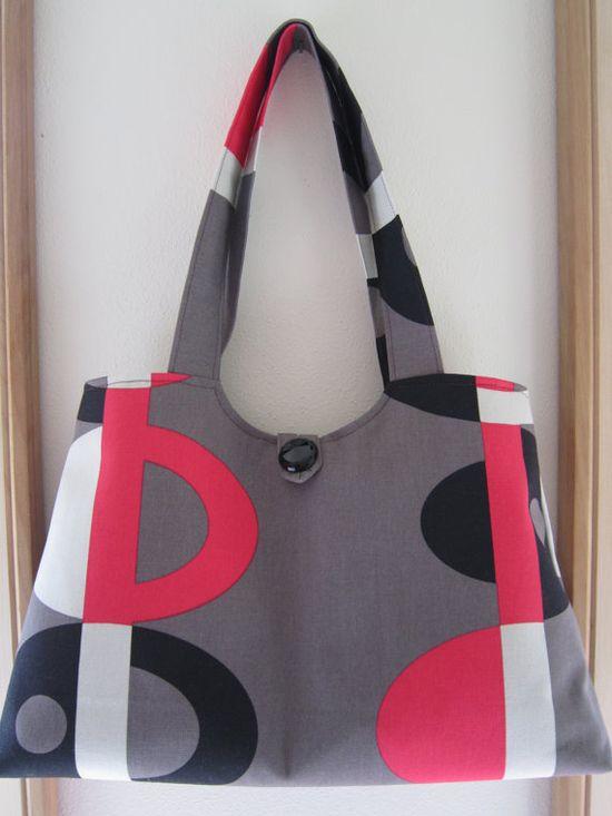 Mod Canvas Handbag Purse Ipad Netbook Tote by Antiquebasketlady, $41.00