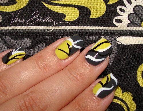 Black + White + Gray + Yellow Vera Bradley Baroque Inspired Mani #Nails #Mani #NailArt #Black #Gray #Yellow #VeraBradley #Baroque #VeraBradleyMani