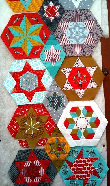 little apples paper pieced hexagons