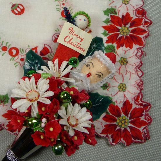 Vintage Christmas corsage & hanky
