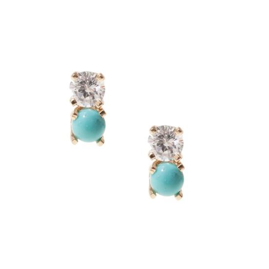 Diamond/turquoise studs.