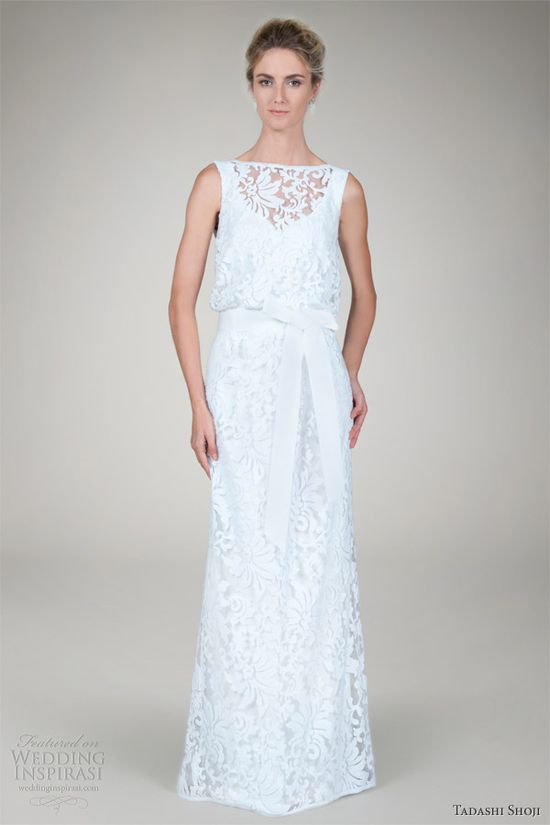 tadashi shoji fall 2012 bridal embroidered lace blouson wedding dress