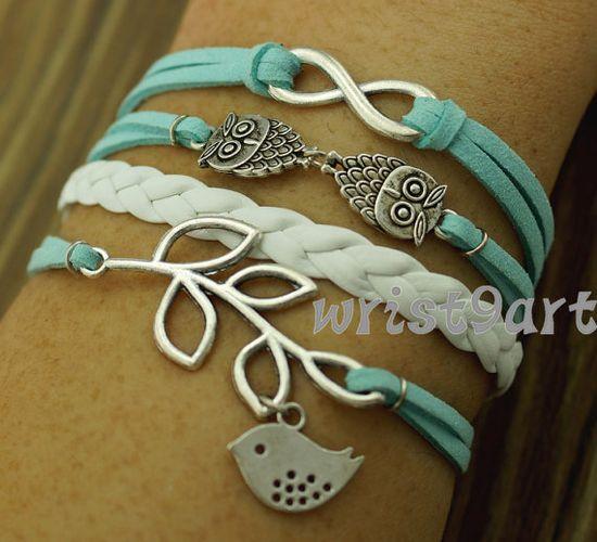 Infinity bracelet  two owls braceletbird leaf by wrist9art on Etsy, $4.99