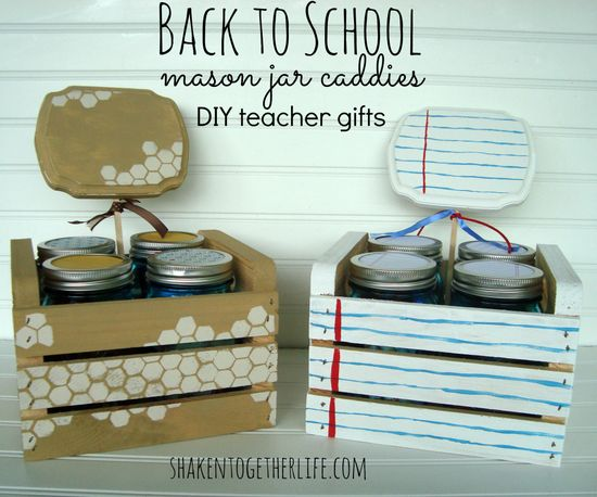 DIY Mason Jar Caddies - Back to School teacher gifts at shakentogetherlif...