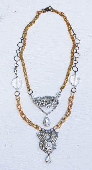 Vintage Rhinestone Necklace Great Gatsby by redtruckdesigns