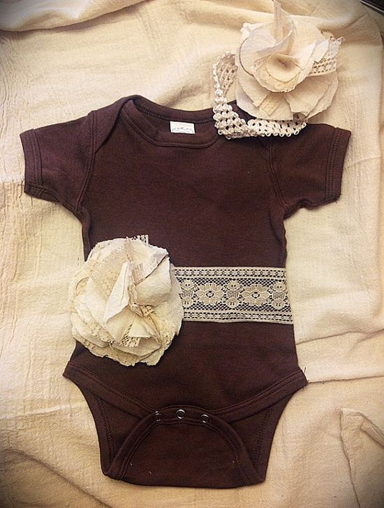Baby Onesie with Vintage Lace & Feed sack Flower by melmac75, $20.00