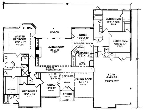 First Floor Plan of Traditional   House Plan 68459