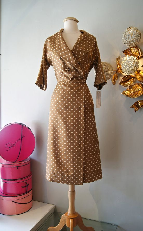 50s Dress // Vintage 1950's Classic Polka Dot by xtabayvintage, $125.00