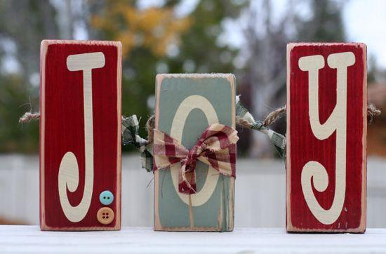 J O Y  wood block set. Country Christmas by SimplySaidBlocks, $15.00