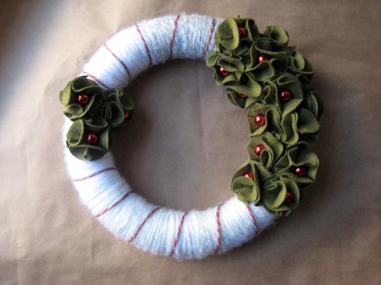 Candy Cane Handmade Yarn Felt Christmas Wreath. $35.00, via Etsy.