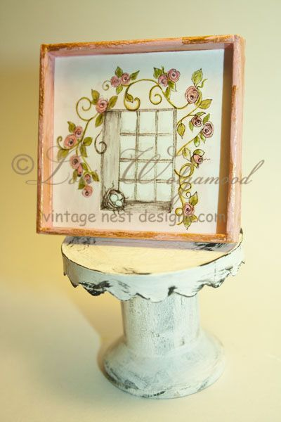 Window No.2 Pink Roses Framed Print Doll House Miniature -Vintage Nest Designs, Creative Handmade and Hand Painted Designs