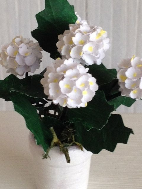 White Hydrangea paper Dollhouse Miniature Flower in white painted pot