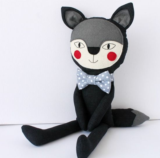 The Big not so Bad Wolf  Stuffed animal toy with a gray by blita, $48.00
