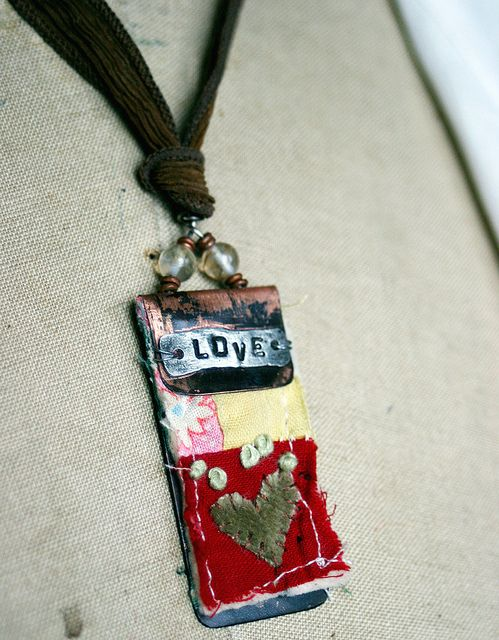 Art quilt pendant--Love by Rebecca Sower, via Flickr