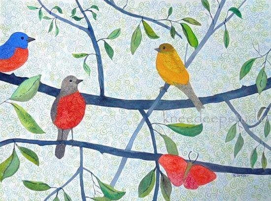 Summer Birds painting original 9x12 by KneeDeepOriginals on Etsy, $110.00