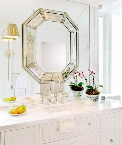 "mirror on mirror-great way to ""upscale"" standard bathroom mirror"