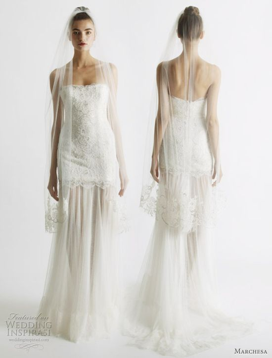 Marchesa strapless lace gown with sheer skirt.#weddingdress