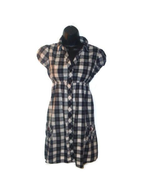 Black and white Checkered Red Striped Empire by AccursedDelights, $20.00