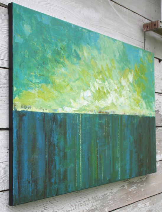 Large Abstract Landscape Painting - What the Sea Remembers via Etsy.