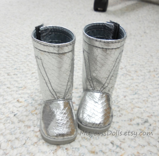 """18"""" dolls boots fit american girl dolls boots metallic silver snake skin. $17.00, via Etsy."""