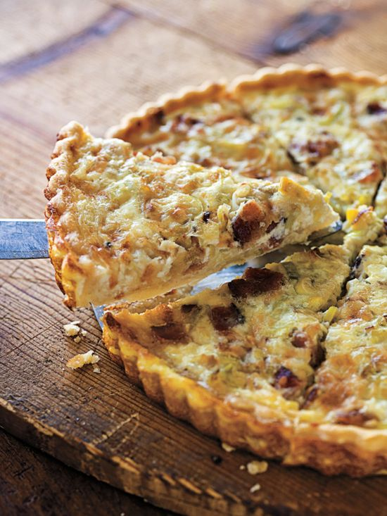 Applewood Smoked Bacon and Leek Quiche with Gruyere Cheese