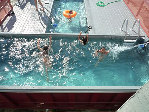 Ever seen a cargo container pool? I don't think there is a shallow end!