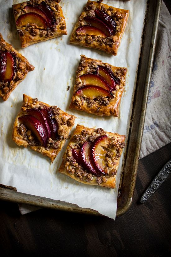 Pluot Puff Pastries With A Cinnamon Shortbread Crumb Topping