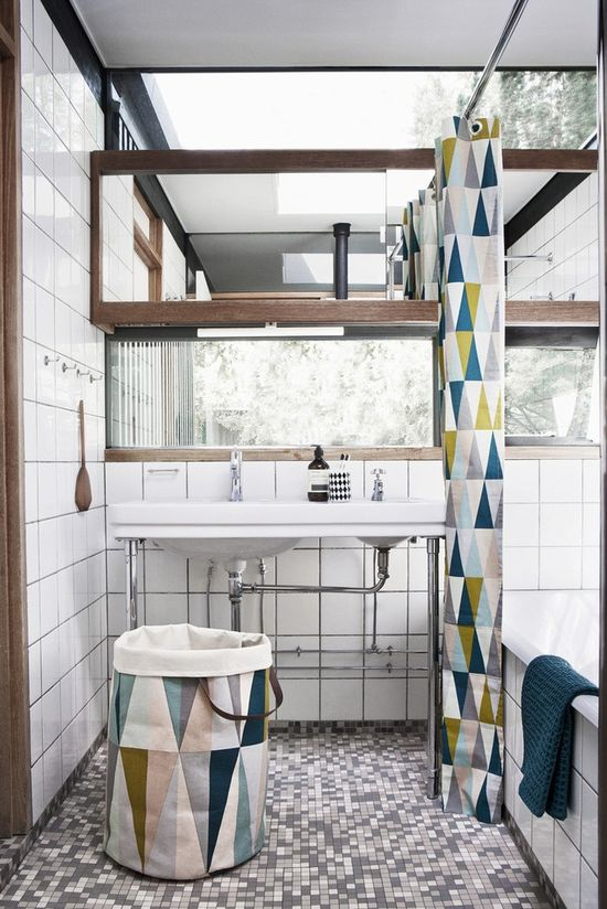 Intrigued by all the rectangles, squares and triangles in this bathroom design