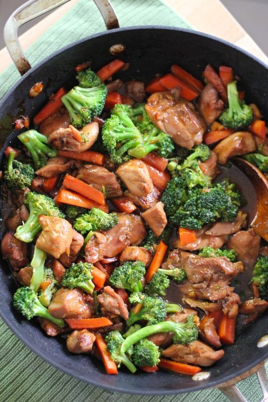 teriyaki chicken and veggies. serve over brown rice for a yummy and healthy dinner.