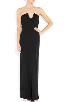 Lanvin  Brass-trimmed silk-crepe strapless gown
