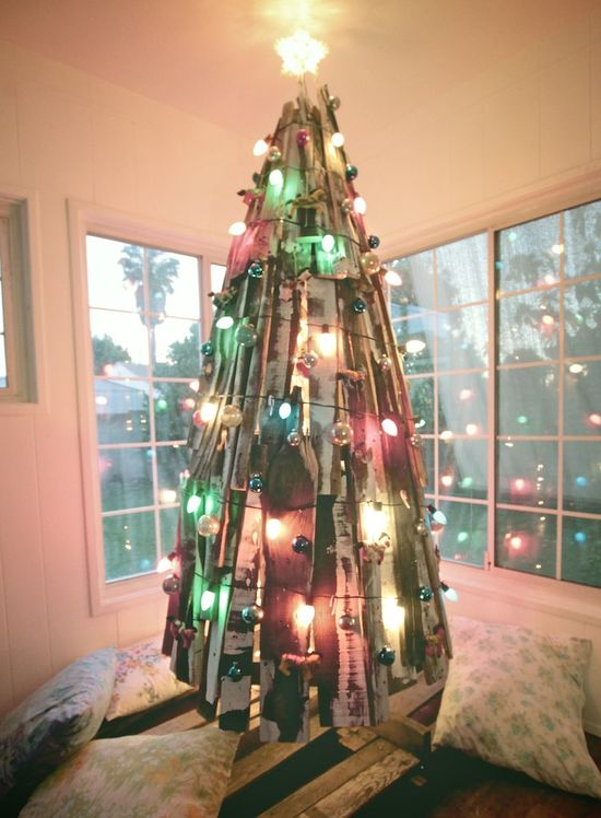 An unconventional Christmas Tree made from reclaimed wood.
