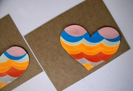 Heart Note Card by Essimar: Beautiful colors and collage work on this handmade card