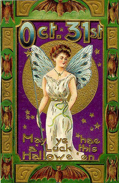 Halloween Fairy---Vintage Halloween Postcard