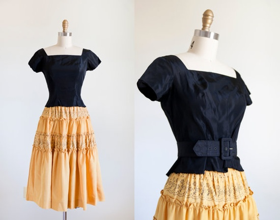 1940s Two Piece // Dress // Small by strawberrykoi