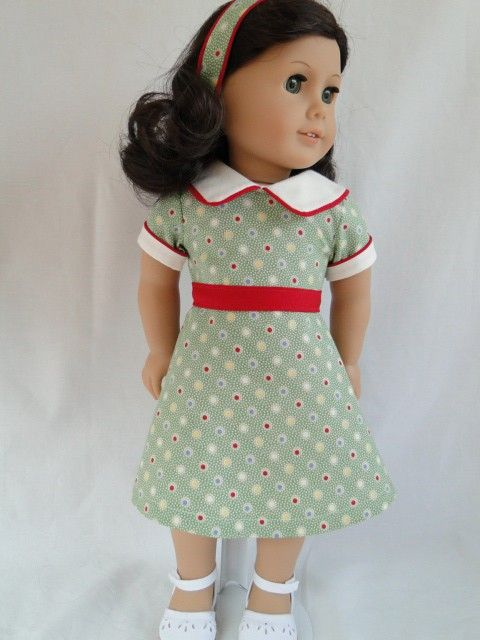 """American Girl 1930""""s dress ..... red piping and waistband"""