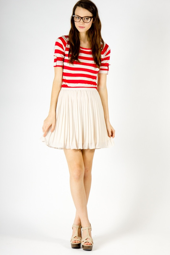 Stripes and pleated skirt