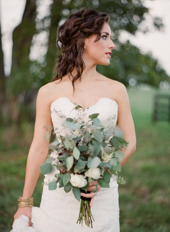 eucalyptus bouquet // photo by BellaGraceStudios... // bouquet by JaclynJourney.com