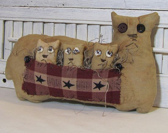 Americana Cat and Kittens Primitive Cats  by cavecreek primitives