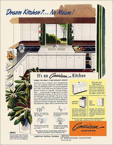 Avco/American Kitchens ad, 1949. #vintage #1940s #kitchen #decor #interiors