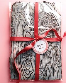 Faux bois, a wood-grain pattern, is a beautiful way to showcase the two types of chocolate used in this bark.